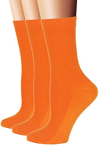 Flora&Fred Women's 3 Pair Pack Cotton Crew Socks Orange