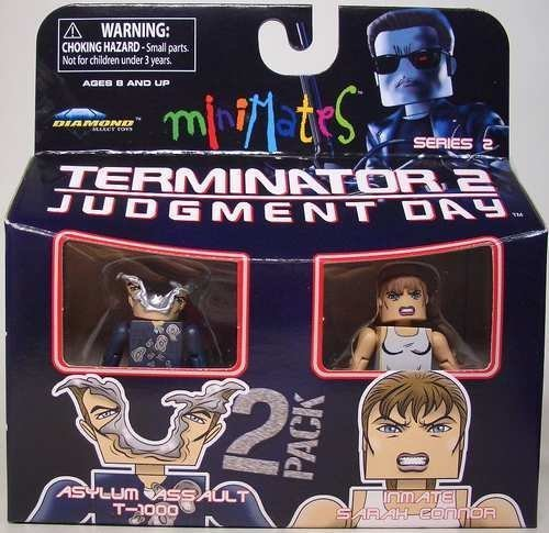 Minimates Terminator 2 Judgment Day 2 Pack Figurines Asylum Assult T-1000 and Inmate Sarah Connor by Minimate