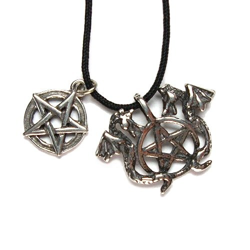 The Dragons Pentacle Pewter Pendant on Cord Necklace