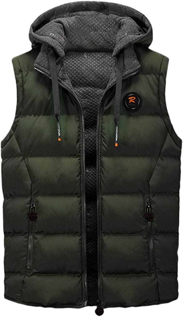 Willow S Mens Double-Faced Cotton Vest Casual Hood Drawstring Zipper Pocket Chest R Sign Sleeveless Warm Vest Jacket
