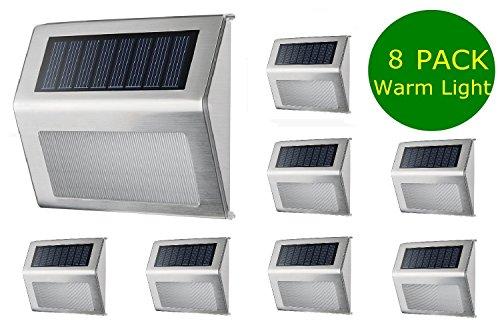 Warm White Solar Light, SimPra Outdoor Stainless Steel LED Solar Step Light; Illuminates Stairs, Deck, Patio, Etc (Warm White 8 Pack) by SimPra