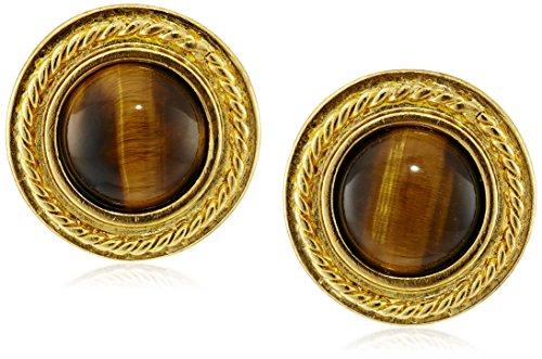 Ben-Amun Jewelry Tiger Eye Gold-Plated Clip-On Earrings Clip Tigers Eye Earrings