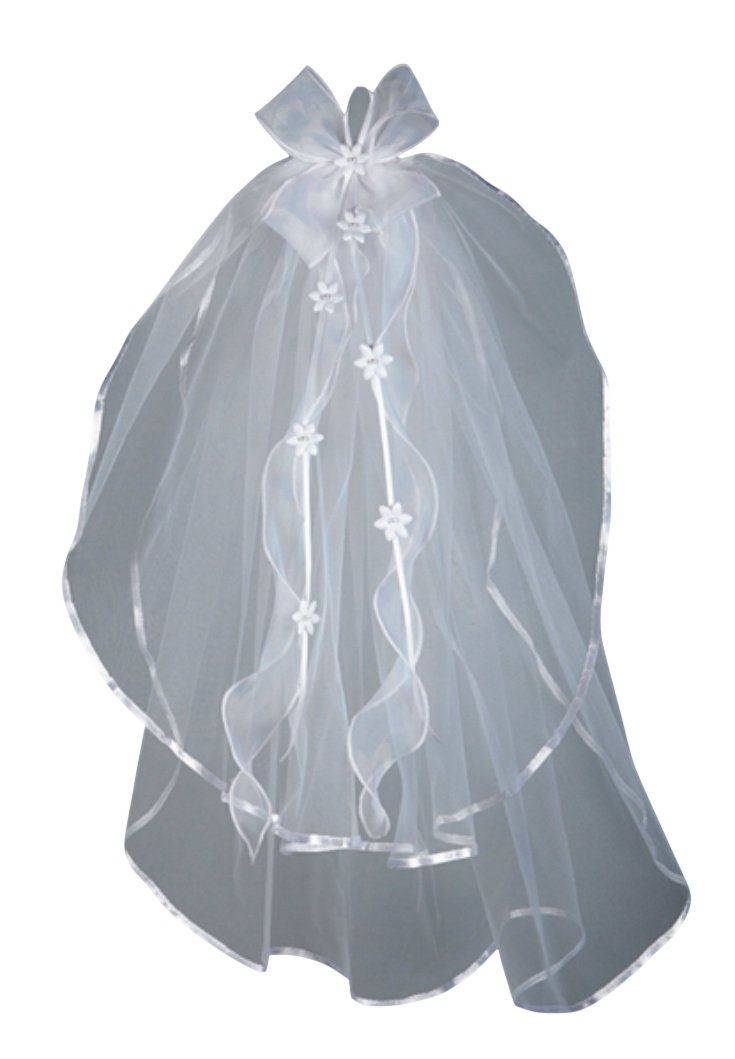 Sheer Bows with Flowers First Communion Veil 26'' L