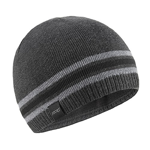 OMECHY Mens Winter Beanie Hat Warm Cuff Toboggan Knit Ski Skull Cap Grey