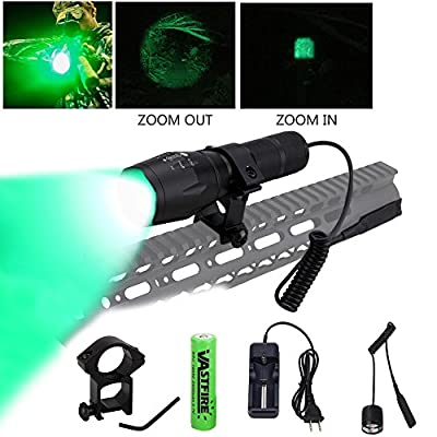 VASTFIRE 350 Yard Zoomable CREE Green LED Flashlight Predator Varmint Hog Hunting Light with Rail Mount Remote Pressure Switch Rechargeable Batteries and Charger,Gift Box Packaging