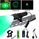 VASTFIRE 350 Yard Zoomable CREE Green Flashlight Predator Varmint Hog Hunting Light with Rail Mount Remote Pressure Switch Rechargeable Batteries and Charger,Gift Box Packaging