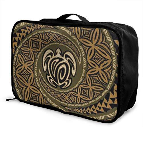 Portable Luggage Duffel Bag Hawaiian Tapa Honu Turtle Pattern Travel Bags Carry-on In Trolley Handle