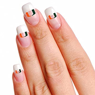 Football Fanatics NCAA Miami Hurricanes 16 Mini Temporary Nail Tattoos : Childrens Temporary Tattoos : Sports & Outdoors