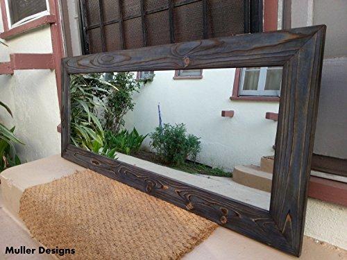 Wood mirror/ navy blue mirror/ rustic mirror/ mirror/ modern mirror/ full length - Mirrors Blue Bathroom Rustic Framed Navy