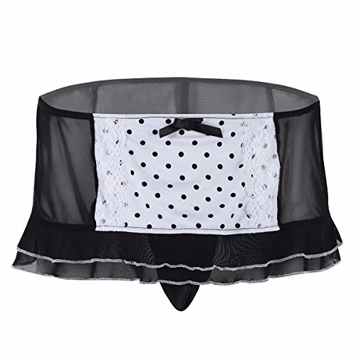 TiaoBug Men's Mesh Polka Dots Ruffle Trimming Skirted G-string Bikini Underwear with Closed Penis Sheath Black Large