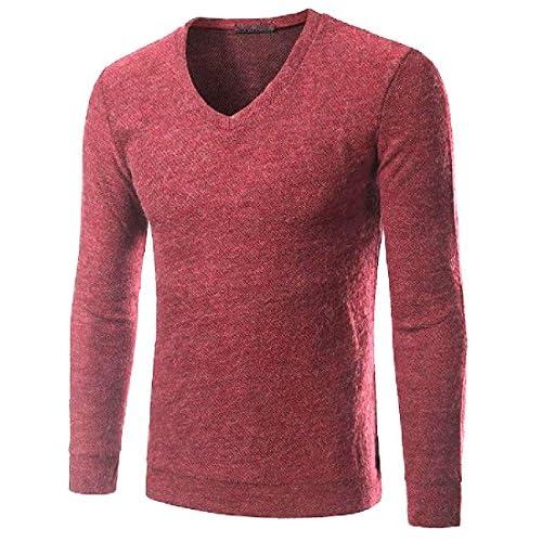 95b40de96088 Winwinus Men Funky Bodysuits Comfort Soft V Neck Pure Color Knitwear free  shipping