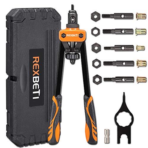 REXBETI 14' Rivet Nut Tool, Professional Rivet Setter Kit with 7 Metric & SAE Mandrels and 60pcs Rivnuts, Labor-Saving Design, Extra 1/4-20 mandrel with Rugged Carrying Case