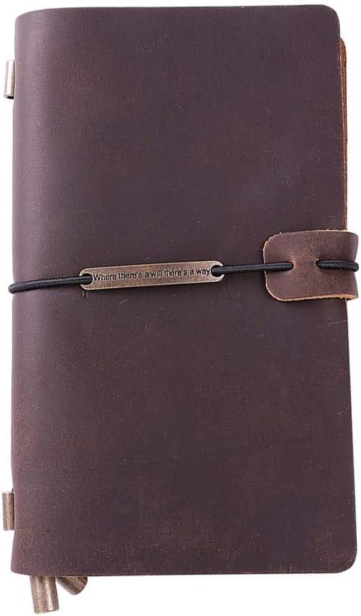 Cuero Cuaderno Retro Hecho a Mano Bloc de Notas - Diario Viajar Reunión Negocio Viaje Agenda Libro de Bolsillo Marrón