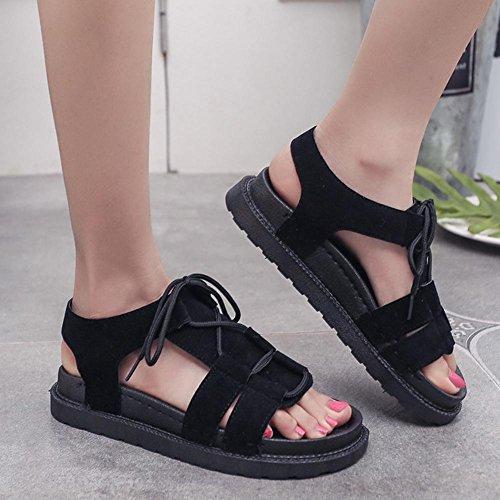 sandalias abiertas las mujeres de encaje plana estudiante sandalias casuales zapatos Black