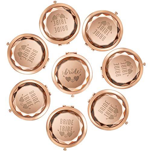 (Katia Camille Pack of 8 Make Up Mirrors - 1 Bride 7 Bride Tribe Compact Pocket Makeup Mirrors Wedding Bridesmaid Gifts(Rose Gold))