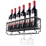 Giantex Wall Mounted Wine Rack Metal Wine Bottle Shelf w/Glass Holder Home, Kitchen & Bar Decorative Storage Display Shelf, Black