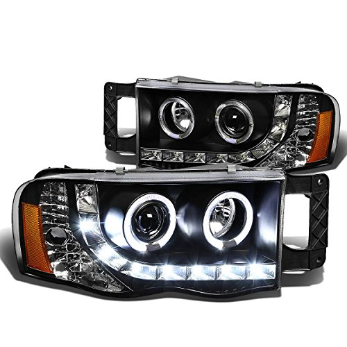 DNA Motoring HLHPLLEDDR02BKAM Halo Projector Headlight Assembly (Driver & Passenger Side) (02 Dodge Ram Halo Headlights compare prices)