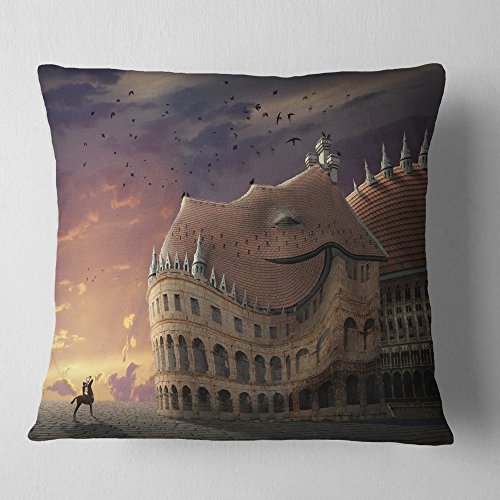 Printed Pillowcase Wake Forest - Designart CU9209-18-18 Wake Up Dragon Collage' Landscape Printed Cushion Cover for Living Room, Sofa Throw Pillow 18 in. x 18 in. in, Insert Side