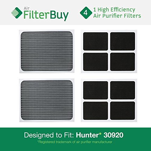 4 - Hunter 30920 30905 Air Purifier Replacement Filters.