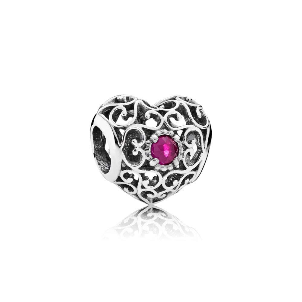 Pandora July Signature Heart Charm With Synthetic Ruby 791784SRU