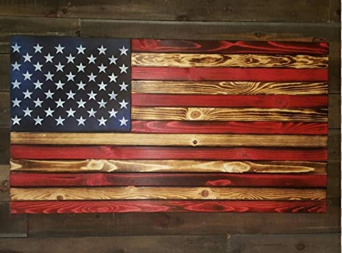 San Tan Woodworks Standard Size Burnt Wood Gun Concealment American Flag. Hand-Made, 100% American Gun Concealment Furniture for The Home (Burnt Red and Blue (White Stars only))