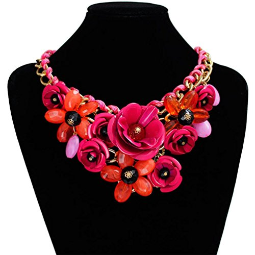 Inkach Women Mixed Style Chain Crystal Flower Luxury Weave Choker Necklace (Hot Pink)