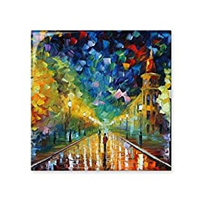 Night Light Street Colorpainting Paninting Landscape Charming Scenery Sights Illustration Pattern Ceramic Bisque Tiles for Decorating Bathroom Decor Kitchen Ceramic Tiles Wall Tiles delicate