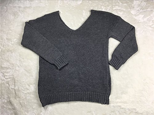 Blouse Chandail Pull Longues Tops Hiver Pulls Gris Tricot Manches Col En Femmes Vrac V Casual et Automne Sweater UOqwRq