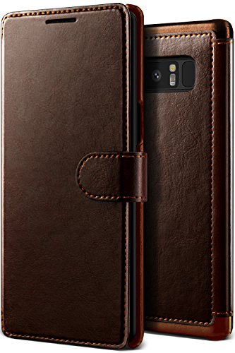 Note 8 Case, Samsung Galaxy Note 8 Leather Case, Premium PU Leather ID Card Slot Wallet Drop Protection Case [Wireless Charging Compatible] for Samsung Note 8 (2017) by Lumion (Dandy Wallet - Brown)