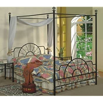 this item queen size black finish canopy metal bed headboard and footboard