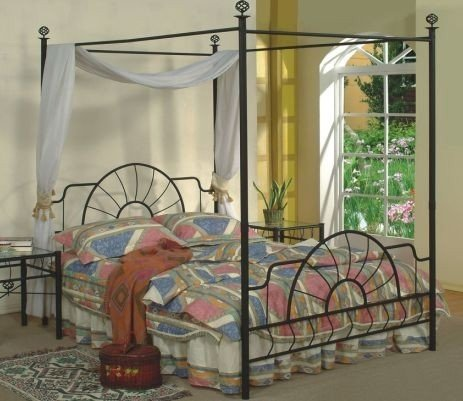 Queen Size Black Finish Canopy Metal Bed Headboard and Footboard (Canopy Bed Size Metal Queen)