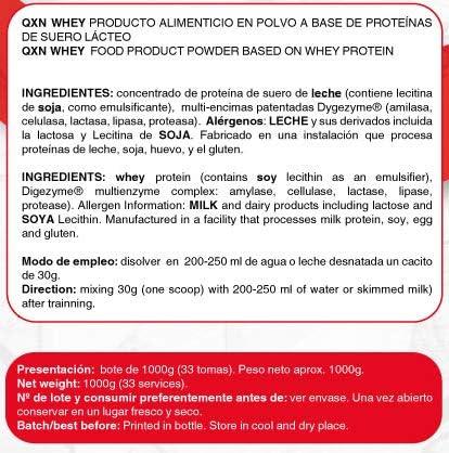 QXN New 100% Whey 1Kg   Suplemento Deportivo con Concentrado ...