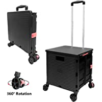 59L, Black Hard Wearing /& Foldaway Trendy Folding//Collapsible Push//Pull Carts for Easy Storage with 2 Wheels Premium 59L Lightweight Shopping Trolley