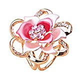 Lujuny Flower Scarf Clip Ring - Fashion Triple-Ring Floral Stewardess Shawl Wrap Neckerchief Slides Buckle for Women Girls (Pink Rose)