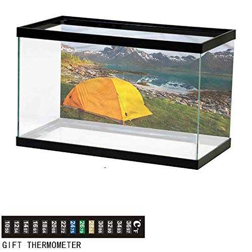 bybyhome Fish Tank Backdrop Camper,Tourist Tent on Lakeside,Aquarium Background,60