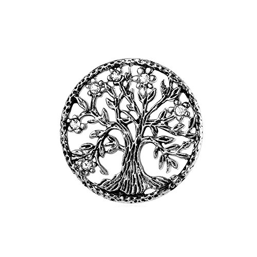 Lapel Stick (U7 Brooch Women Men Stainless Steel Tree Of Life Design Round Lapel Stick Pin For Hat,Bag,Suit)