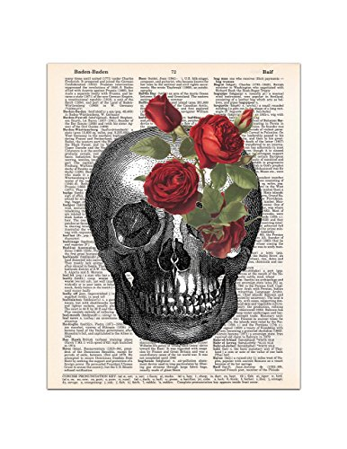 Skull with Red Roses, Halloween Gothic Print, Medical Anatomy, Dictionary Page Art, 8x11 UNFRAMED