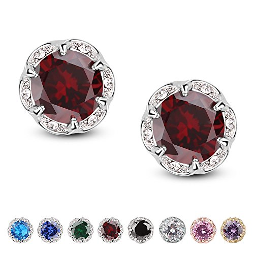 (Jardme Crown Shape Crystal Round Earring Stud White Cubic Zircon Earring Stud For Party, Evening (red))