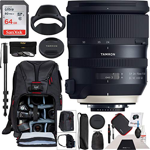 Tamron SP 24-70mm f/2.8 Di VC USD G2 Lens for Nikon F Mount Camera AFA032N-700 with 82mm Deluxe Filter Kit and Deco Gear Photography Backpack Pro Bundle