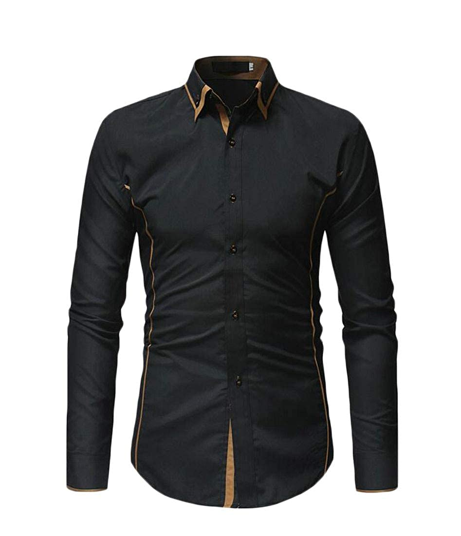 Cromoncent Mens Button Down Juniors Contrast Top Slim Fit Shirt