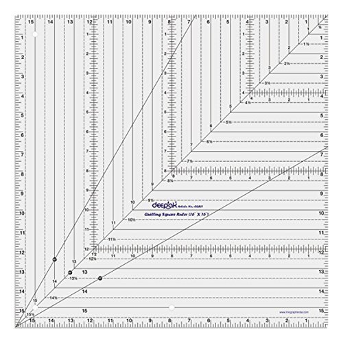 Square Shape Quilt Designing and Crafting Quilting Ruler Template 16 x 16 Inches by LINOGRAPH