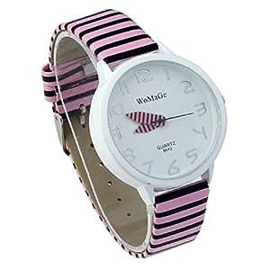 Tonsee(TM) Elegant Ladies Women Stripes Strap Round Dial Wrist Watch (Pink)