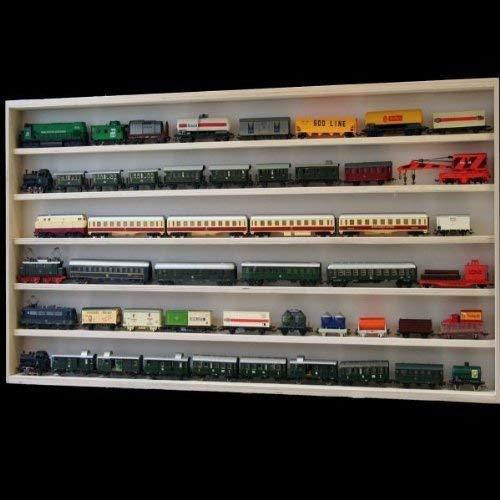 6 /Étag/ères Trains Voitures 110 x 58 x 8,5 cm en Bois de Bouleau Non Trait/é /Échelle N et H0 2 Vitres Plexiglas Coulissantes Collection V110.6 Vitrine Murale Miniatures
