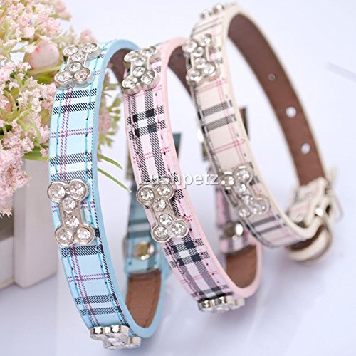 Lushpetz Tartan Plaid Dog Collar with Rhinestone Bones Available in Small, Medium & Large Sizes Pink Blue and Beige (Small, Beige)