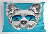 Ambesonne Yorkie Pillow Sham, Yorkshire Terrier Portrait with Cool Mirror Sunglasses Hand Drawn Cute Animal Art, Decorative Standard Size Printed Pillowcase, 26 X 20 inches, Blue White