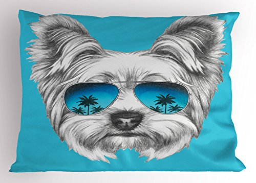 Ambesonne Yorkie Pillow Sham, Yorkshire Terrier Portrait with Cool Mirror Sunglasses Hand Drawn Cute Animal Art, Decorative Standard Size Printed Pillowcase, 26 X 20 inches, Blue White by Ambesonne