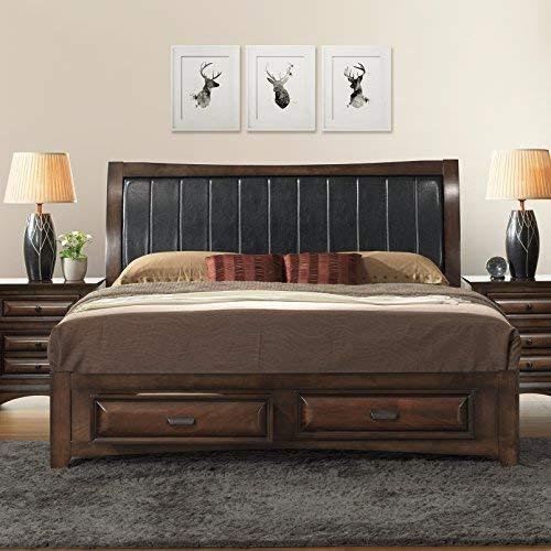 Roundhill Furniture B179KDMN2 Broval 179 Light Espresso Finish King Storage Bed, Dresser, Mirror, 2 Night Stands Wood Bed Room Set