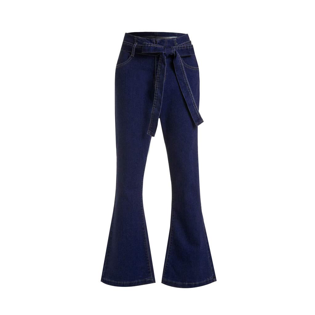Nadition Ladies Flare Pants ❣ Fashion Womens Bandage Bow Loose Jeans High Waist Stretch Slim Sexy Long Pants