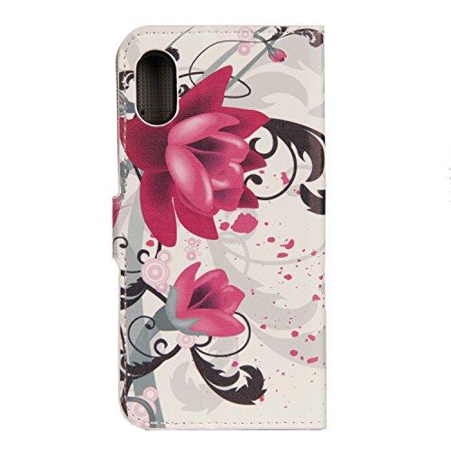 iPhone X Hülle Lilane Blumen PU Leder Wallet Handytasche Flip Etui Schutz Tasche mit Integrierten Card Kartensteckplätzen und Ständer Funktion Für Apple iPhone X / iPhone 10 (2017) 5.8 Zoll + Zwei Ges