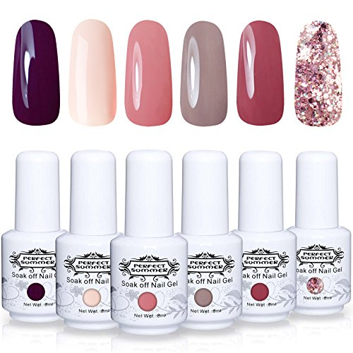 Perfect Summer Gel Nail Polish Starter Kit - 6 Colors Gel Na